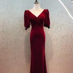 酒红色中袖新娘结婚当天嫁衣敬酒服W2010830108-4 图片色 均码