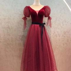 酒红色新娘结婚当天嫁衣敬酒服W2010830108-5 图片色 均码