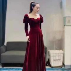 长袖酒红色新娘结婚当天嫁衣敬酒服W2010830108-8 图片色 均码