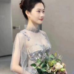 高领长纱袖主持人歌唱表演赛礼服随身礼服W2010830109-5 图片色 均码