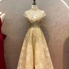 高领金色主持人歌唱表演赛礼服随身礼服W2010830109-6 图片色 均码