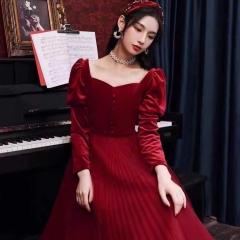 长袖新娘结婚当天嫁衣敬酒服礼服W2011400308-21 图片色 均码