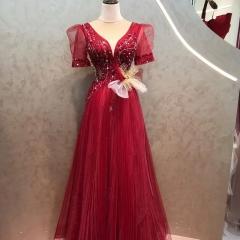 短袖款新娘结婚当天嫁衣敬酒服礼服W2010830321-19 图片色 均码