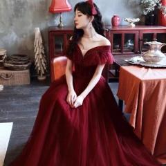 一字肩新娘结婚当天嫁衣敬酒服W2010050323-11 图片色 均码