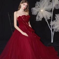 抹胸款新娘结婚当天嫁衣敬酒服W2010050323-12 图片色 均码