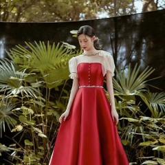 短袖款新娘结婚当天嫁衣敬酒服W2010050323-13 图片色 均码