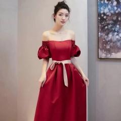 一字肩新娘结婚当天嫁衣敬酒服W2010050323-18 图片色 均码