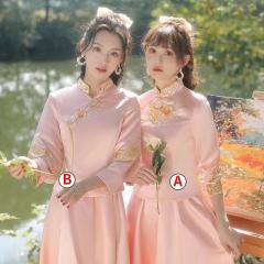 伴娘服中式新娘伴娘团结婚姐妹中国风长款显瘦礼服W201LN0325-34 S A(单件)