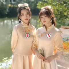 伴娘服中式新娘伴娘团结婚姐妹中国风长款显瘦礼服W201LN0325-35 S A(单件)