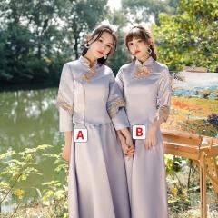 中式伴娘礼服女复古中国风闺蜜姐妹团婚礼长款W201LN0325-36 S A(单件)
