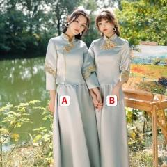 中式伴娘礼服女复古中国风闺蜜姐妹团婚礼长款W201LN0325-37 S 二件套(1组)