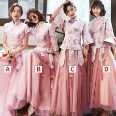 中式新娘伴娘团结婚姐妹中国风长款复古礼服W201LN0325-38 S B(单件)
