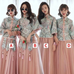 伴娘团结婚姐妹中国风长款复古礼服W201LN0325-39 S 四件套(1组)