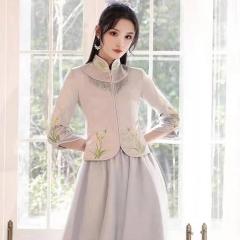 伴娘服中式新娘伴娘团结婚姐妹中国风长款礼服W5010060329-05 S 如图
