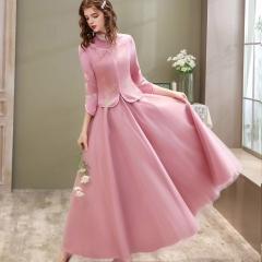 伴娘服中式新娘伴娘团结婚姐妹中国风长款礼服W5010060329-06 图片色 S