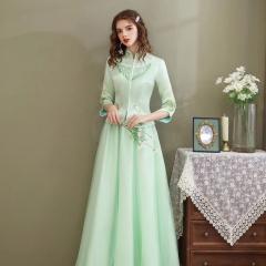 伴娘服中式新娘伴娘团结婚姐妹中国风长款礼服W5010060329-07 图片色 S