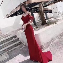 一字肩圆领美背新娘结婚当天敬酒服礼服拉链款W2011180302-1 图片色 均码