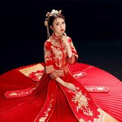 新款红色秀禾服新娘嫁衣结婚礼服中式敬酒礼服5010600927 S 图片色