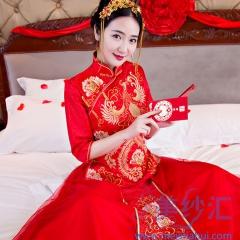 新娘嫁衣敬酒服中式礼服秀禾服大凤中袖W501006011204 2XL 上衣+纱裙