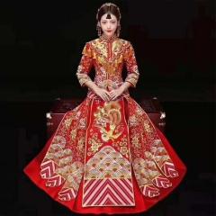 中式出阁服新娘结婚当天嫁衣秀禾服敬酒服W501056011206 图片色 2XL