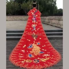 中式婚礼出阁服新娘结婚当天嫁衣秀禾披风W5010560205-13 如图(单女披风) M