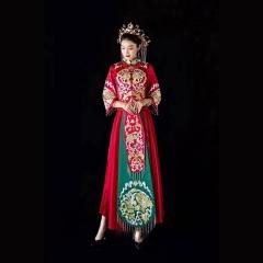 中式出阁服新娘结婚当天嫁衣秀禾服W5010560204-18 无钻(盘锦绣) 3XL