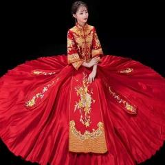 中式出阁服新娘结婚当天嫁衣特大码秀禾服W5010610206-1 加钻(不含头饰) 6XL