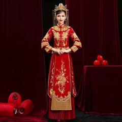 中式出阁服新娘结婚当天嫁衣秀禾服W5010470208-11 2XL 图片色(无钻)