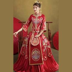 中式出阁服新娘结婚当天嫁衣秀禾服W5010470208-12 S 图片色(加钻)
