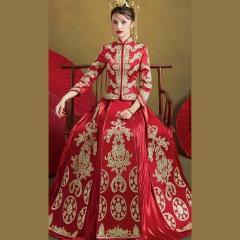 中式出阁服新娘结婚当天嫁衣秀禾服W5010470208-14 如图(加钻) 3XL