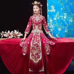 中式出阁服新娘结婚当天嫁衣秀禾服W5010470208-15 如图(加钻) 3XL