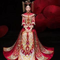 中式出阁服新娘结婚当天嫁衣秀禾服W5010470208-17 如图(加钻) 3XL