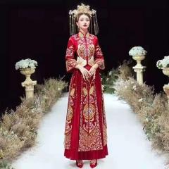 中式出阁服新娘结婚当天嫁衣秀禾服W5010470208-18 2XL 图片色(加钻)