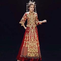 中式出阁服新娘结婚当天嫁衣秀禾服W5010470208-20 XL 图片色(加钻)