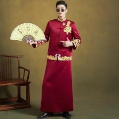 中式出阁服新郎结婚当天嫁衣男秀禾W5010440503-6 图片色 XL