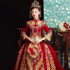 2020年新款当天新娘嫁衣烫钻秀禾服W5010410528-8 如图(加钻) S