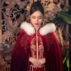 秀禾服披风中式婚礼棉斗篷保暖毛领W5010720001 图片色 均码