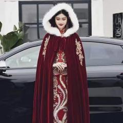 秀禾服披风中式婚礼棉斗篷保暖毛领W8010010125 图片色 均码