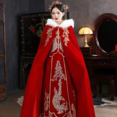 秀禾服披风中式婚礼棉斗篷保暖毛领W5010630006 图片色 均码