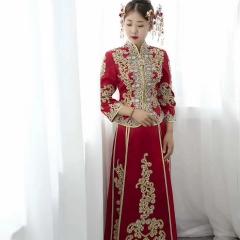 珠子印度丝秀禾服新娘出阁服结婚嫁衣敬酒服W5010690107-6 图片色 S