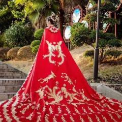中式婚礼出阁服新娘结婚当天嫁衣秀禾披风W5010630107-10 图片色 均码