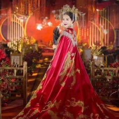 中式婚礼出阁服新娘结婚当天嫁衣秀禾披风W5010630107-11 图片色 均码