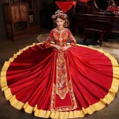 中式婚礼出阁服新娘结婚当天嫁衣秀禾服W5010560321-25 图片色 S