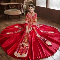 中式婚礼出阁服新娘结婚当天嫁衣秀禾服W5010560321-26 图片色 S
