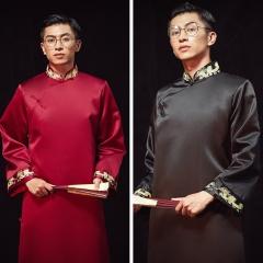 中式婚礼伴郎服中国风礼服复古风长袍马褂W5010470322-08 黑色 S