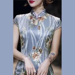 2020新款春款长款丝绸码数齐全,灰色出货C401023033005 4XL 图片色