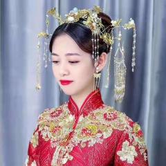 ETE秀禾服头饰新娘中式结婚古风大气凤冠流苏中国风古装秀禾头饰套装 图片色 标准