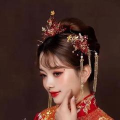 ETE新娘中式皇后大婚凤冠头饰古装发饰流苏结婚婚礼古风秀禾典雅饰品 图片色 头饰
