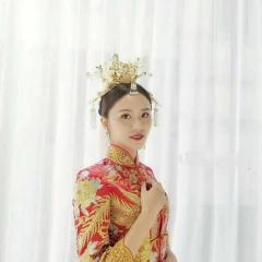 ETE新娘金色复古中式古装头饰凤冠流苏发簪结婚秀禾礼服发饰套装 图片色 标准
