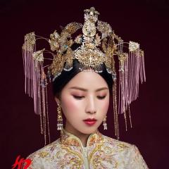 ETE新娘头饰秀禾古装套装中式凤冠结婚秀禾服龙凤褂发饰品 图片色 标准